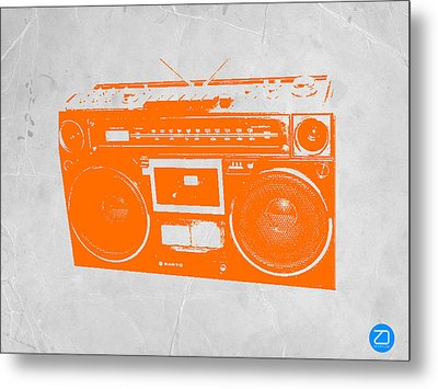 Orange Boombox Metal Print by Naxart Studio