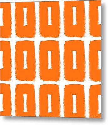 Orange Boxes- Art By Linda Woods Metal Print