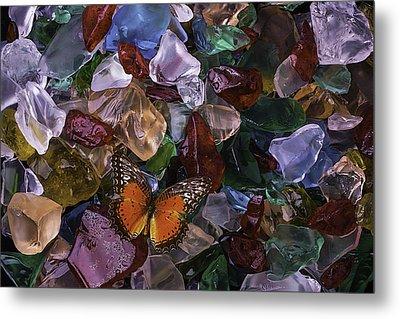 Orange Butterfly On Sea Glass Metal Print by Garry Gay
