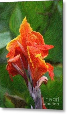 Orange Canna Art Metal Print by John W Smith III