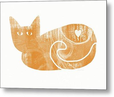 Orange Cat- Art By Linda Woods Metal Print by Linda Woods