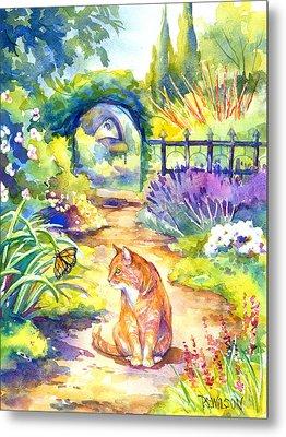 Orange Cat In The Garden Metal Print by Peggy Wilson