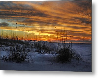 Orange Clouded Sunrise Over The Pier Metal Print by Michael Thomas