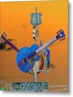 Orange Crossroads Metal Print