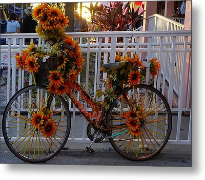 Orange Flower Bike Metal Print by Laurie Perry