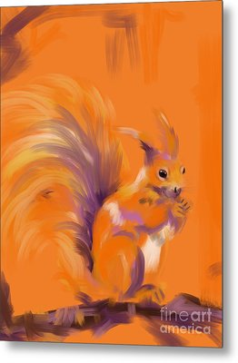 Orange Forest Squirrel Metal Print by Go Van Kampen