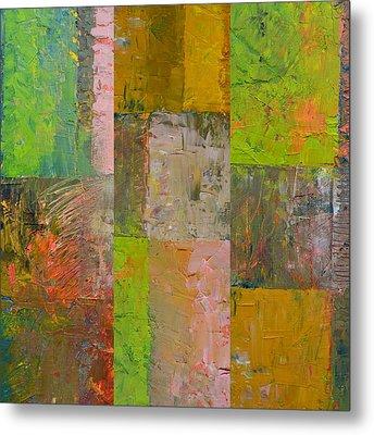 Orange Green And Grey Metal Print by Michelle Calkins