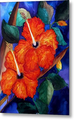 Metal Print featuring the painting Orange Hibiscus by Lil Taylor