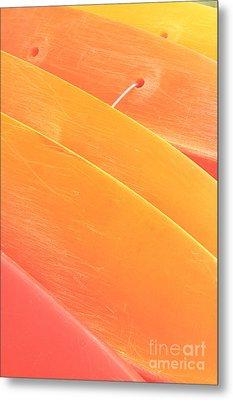 Orange Kayaks Metal Print by Brandon Tabiolo - Printscapes
