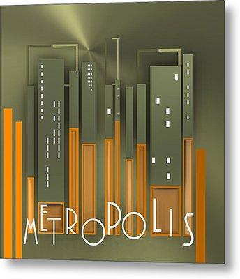 Orange Metropolis Metal Print by Alberto RuiZ