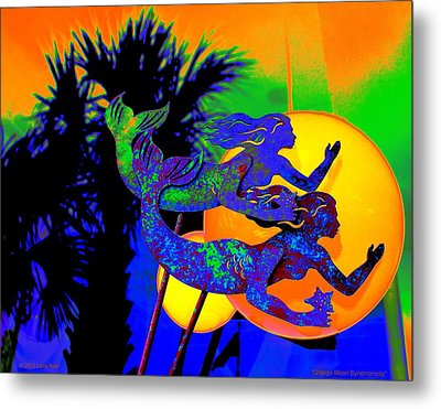 Orange Moon Synchronicity Metal Print