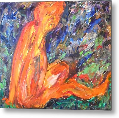 Metal Print featuring the painting Orange Nymph by Esther Newman-Cohen