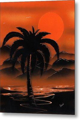 Orange Oasis Metal Print