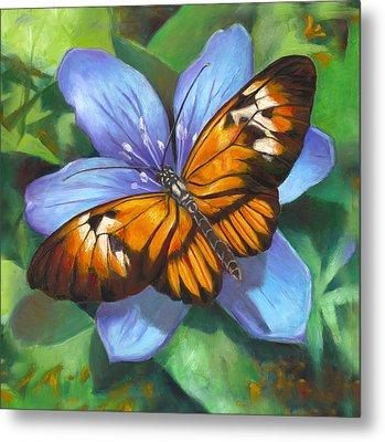 Orange Piano Key Butterfly Metal Print