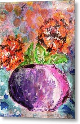 Orange Poppies Metal Print by Lisa McKinney