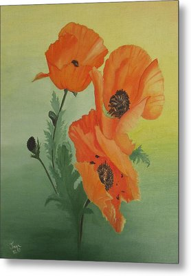 Orange Poppies Metal Print by Joan Taylor-Sullivant