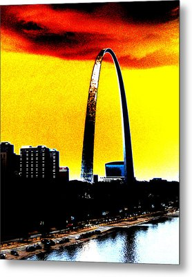 Metal Print featuring the digital art Orange Skies And The Arch by Maggy Marsh
