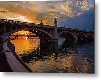 Metal Print featuring the photograph Orange Sunset Over Tempe Town Lake by Dave Dilli