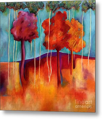 Orange Trees Metal Print