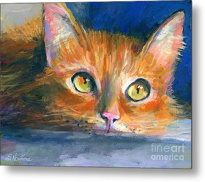 Orange Tubby Cat Painting Metal Print