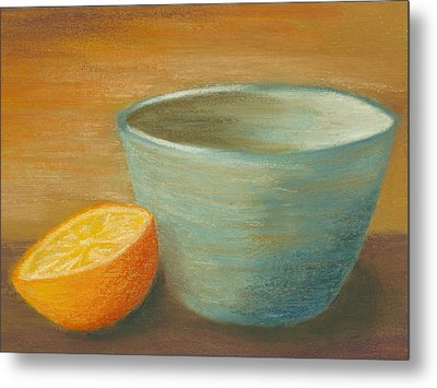 Orange With Blue Ramekin Metal Print by Cheryl Albert