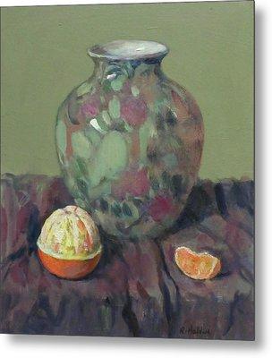 Oranges And Floral Porcelain Vase Metal Print