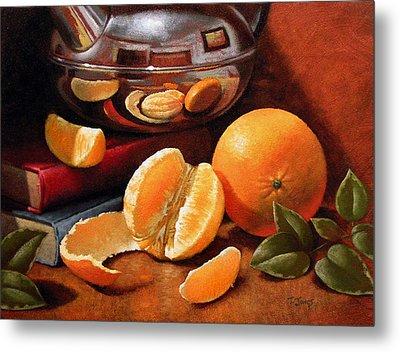 Oranges And Teapot Metal Print by Timothy Jones