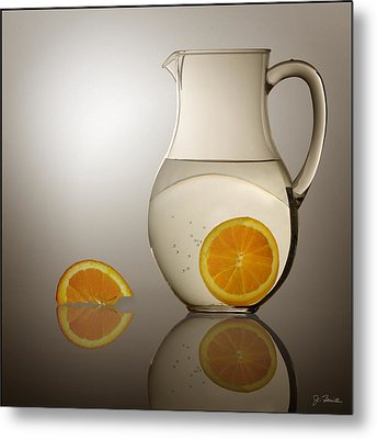 Metal Print featuring the photograph Oranges And Water Pitcher by Joe Bonita