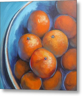 Metal Print featuring the painting Oranges On Blue Acrylic Original Painting by Chris Hobel