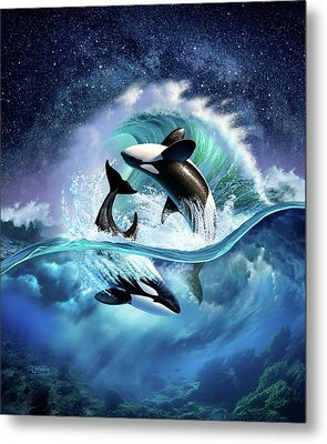 Orca Wave Metal Print by Jerry LoFaro