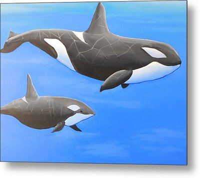 Orca With Baby Metal Print