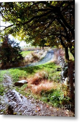 Metal Print featuring the painting Orchard Country Roads by Janine Riley