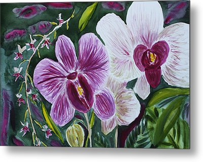 Metal Print featuring the painting Orchid At Aos 2010 by Donna Walsh
