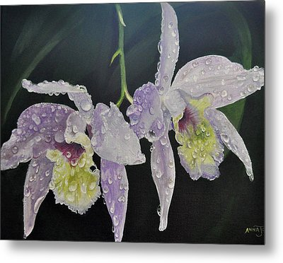 Metal Print featuring the painting Orchid Jewels by AnnaJo Vahle