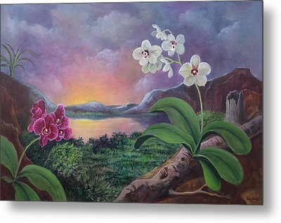 Orchids And Mystery Metal Print