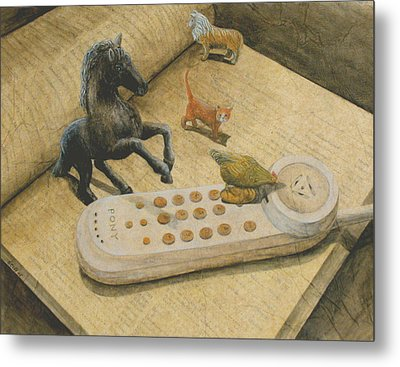 Ordering Pizza Metal Print by Sandy Clift