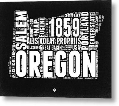 Oregon Black And White Map Metal Print by Naxart Studio