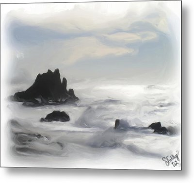 Metal Print featuring the painting Oregon Coast by Shelley Bain