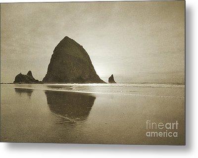 Oregon Haystack Rock Beach Rustic Landscape Metal Print by Andrea Hazel Ihlefeld