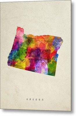 Oregon State Map 02 Metal Print by Aged Pixel