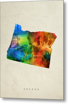 Oregon State Map 03 Metal Print by Aged Pixel