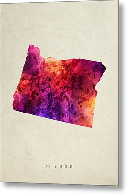 Oregon State Map 05 Metal Print by Aged Pixel