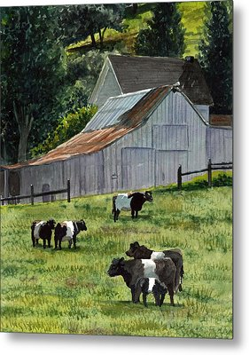 Metal Print featuring the painting Oreo Cows In Napa by Gail Chandler