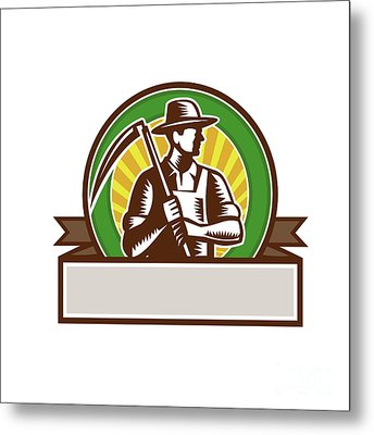 Organic Farmer Holding Scythe Circle Woodcut Metal Print by Aloysius Patrimonio