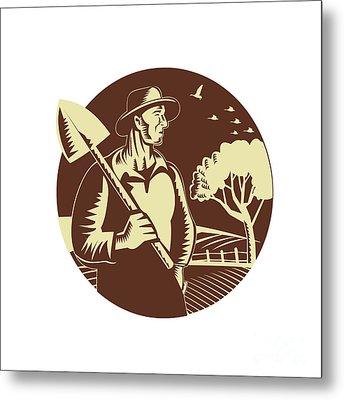 Organic Farmer Holding Shovel Farm Circle Woodcut Metal Print by Aloysius Patrimonio