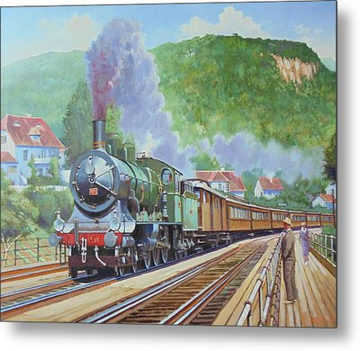 Metal Print featuring the painting Orient Express 1920 by Mike Jeffries