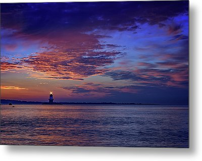 Orient Point Lighthouse At Sunrise Metal Print