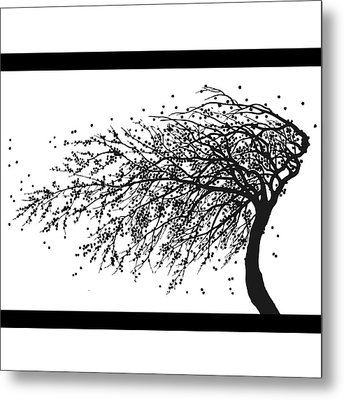 Metal Print featuring the mixed media Oriental Foliage by Gina Dsgn