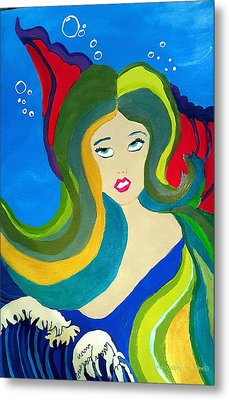 Japanese Mermaid Bubbles  Metal Print by ARTography by Pamela Smale Williams