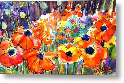 Oriental Poppies Behind Lindas Metal Print by Therese Fowler-Bailey